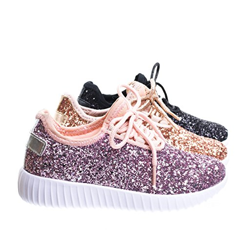 Remy18k Pink Lace up Rock Glitter Fashion Sneaker For Children / Girl / Kids -2