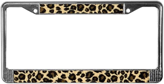 New Tan Leopard Print Car Truck License Plate Frame /& Chrome Screw Caps Set