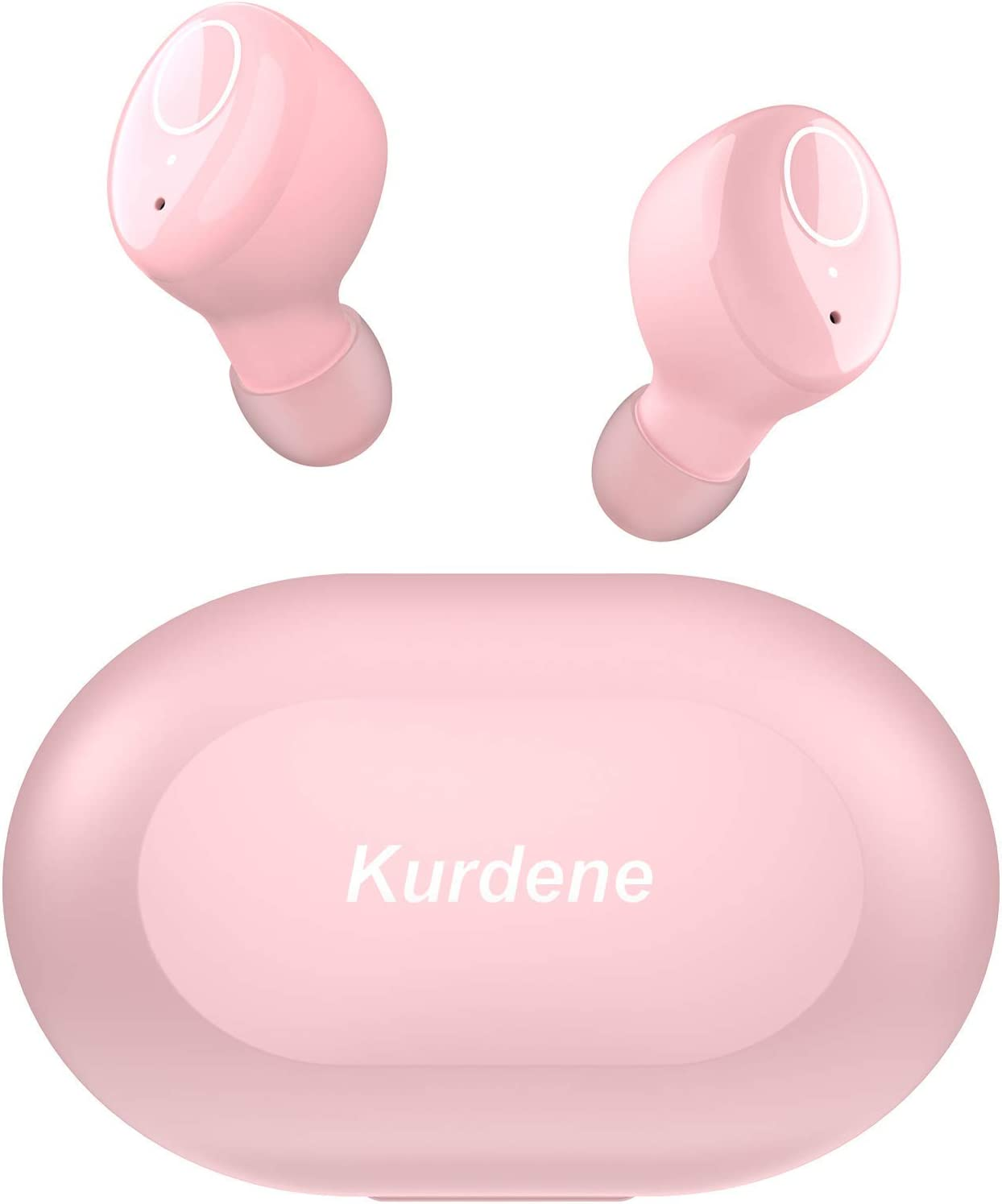 Kurdene Small Wireless Earbuds,Bluetooth Earbuds with Charging Case Bass Sounds IPX8 Waterproof Sports Headphones with Mic Touch Control 24H Playtime for iPhone/Samsung/Android -Rose Pink