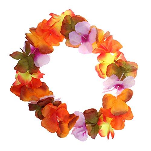 Artistic Costumes & Dance Supply (Jili Online Colorful Hawaiian Party Hula Dance Flower Wreath Necklace Headband Women Costume)