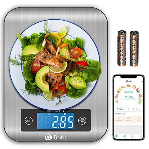 Brifit Smart Kitchen Scale, Multifunction Nutritional Scale with Nutritional Calculator and Timer, Food Scale, Coffee Scale for Keto, Macro, Calorie and Weight Loss, Bluetooth