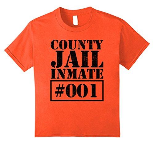 Jail Costume Girl (Kids Prisoner Costume T-Shirt Funny County Jail Inmate Escaped 12 Orange)