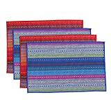 "WOOD MEETS COLOR Place mats Woven Cotton Braided Ribbed Washable Table Mats Set of 4, 12"" x 18"" (Mixed Color)"