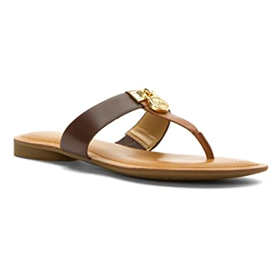 Flip Flops Flat Sandals Womens On Sale, brown leather, Leather, 2017, 4 5.5 6 7.5 8.5 Michael Kors