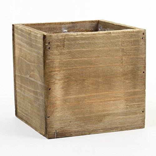 Koyal Wholesale Square Cube Shabby Chic Wood Vase (Pack of 6), 6