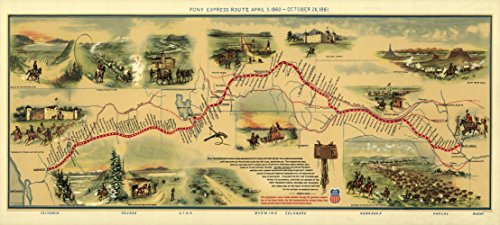 Old State Map - Pony Express Route April 3, 1860 - 1860 - 51 x 23 - Matte Art Paper (Pony Express Route)