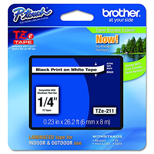 "Brother Genuine P-touch TZE-211 Label Tape 1, 1/4"" (0.23"") Standard Laminated P-touch Tape, Black on White, Laminated for Indoor or Outdoor Use, Water Resistant, 26.2 Feet (8M), Single-Pack"
