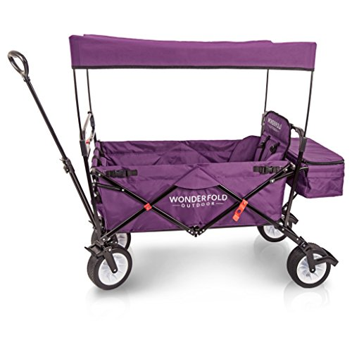 WonderFold Outdoor Premium Folding Wagon With Canopy, Stand, One Pedal Brake, Wide EVA Tire & 1 Wagon Seat with 5-Point Seatbelt (Tyrian Purple)