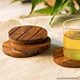ExclusiveLane 'Wood-Rounds' Handcrafted Wooden Dining Coffee Table Tea Coasters (Brown, Set of 4)