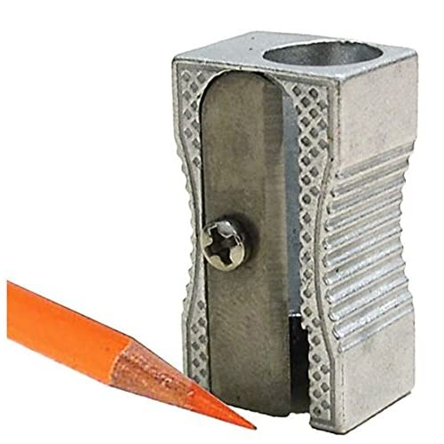 24 Metal Rectangular Silver Pencil Sharpeners, 1 Hole Steel Blade - Manual Pocket Pencil Sharpeners For Standard Size Pencils, Art Pencils, Kids Use. By Mega Stationers free shipping Z3byBdl8