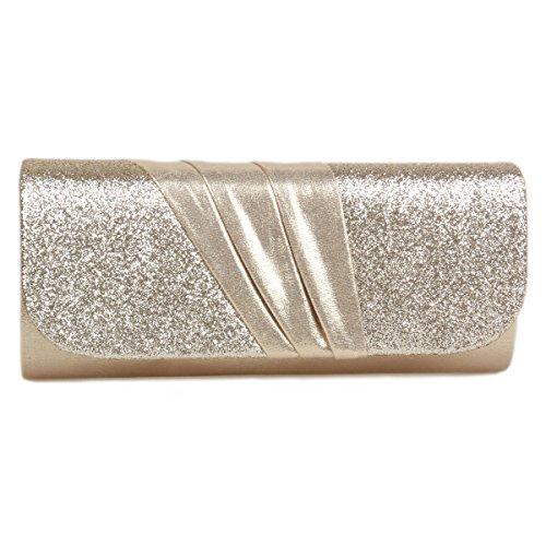 Detail Splice Glitter Gold Evening Women's Pleated Damara Bag wBxITI