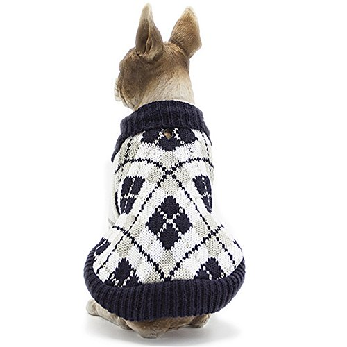 Picture of BOBIBI Dog Sweater of The Diamond Plaid Pet Cat Winter Knitwear Warm Clothes,Navy,XS