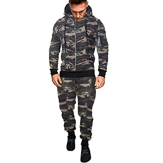 Amazon.com: NEARTIME Mens Tracksuit Sets, Clearance Mens Autumn/Winter Slim Camouflage Sweatshirt+Pants Casual Sports Suits: Clothing