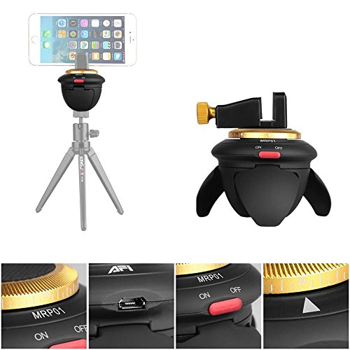 Mini Electric Panorama Head 360-degree Rotating Time Lapse Tripod Head With Phone Clip & Adapter For iPhone 6+/6/5S Samsung GoPro Hero 4/3+ Pocket Cameras Micro SLR Cameras (Panorama Adapter)