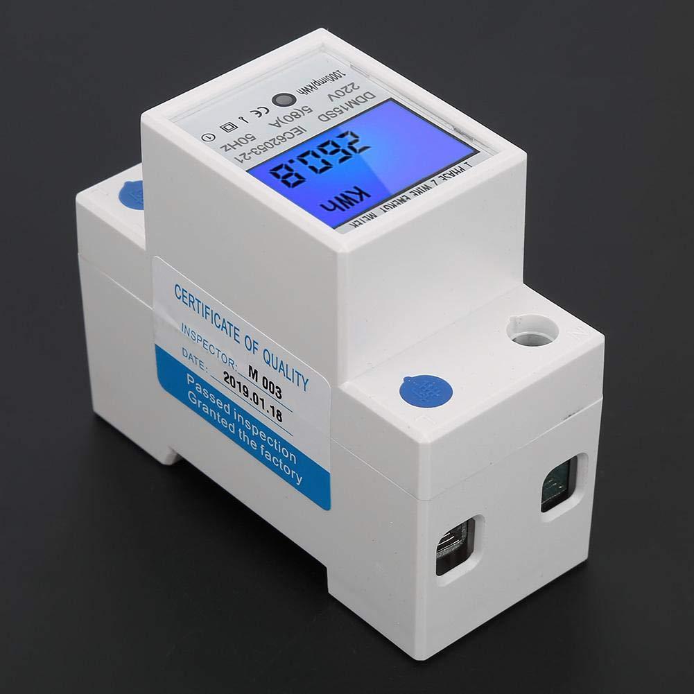 Medidor de energ/ía de riel DIN monof/ásico pantalla LCD Electricidad antirrobo 5-80A medidor de potencia de corriente de voltaje y KWh