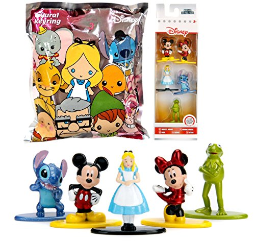 Disney Collection Mini Metal Figures & 3D Blind Bag Keychain / 5-pack classic Mickey & Minnie Mouse / Kermit the Frog Muppets / Alice / Stitch & Mystery Figure