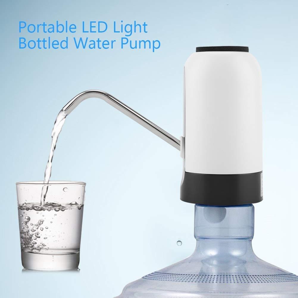 noir, blanc Couleur : Black Distributeur de pompe /à eau potable rechargeable USB /à LED for bureau /à domicile Water Bottle Pump