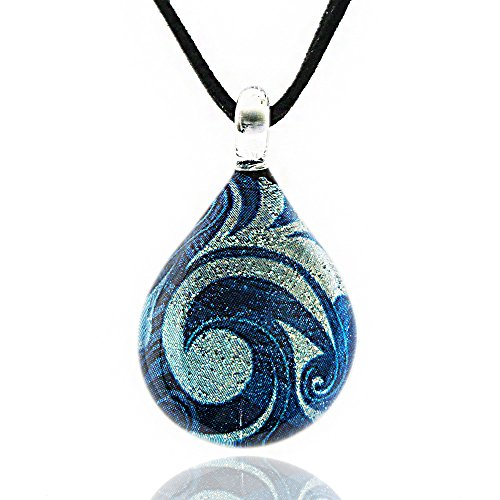 Chuvora Hand Blown Venetian Murano Glass Glitter Blue Sea Wave Teardrop Pendant Necklace, 17-19 inches