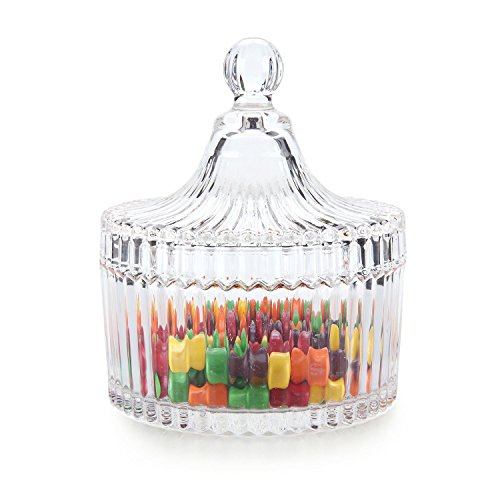"ComSaf Crystal Glass Covered Candy Dish with Lid Sugar Bowl Cookie Jar (Diameter 3.9"")"