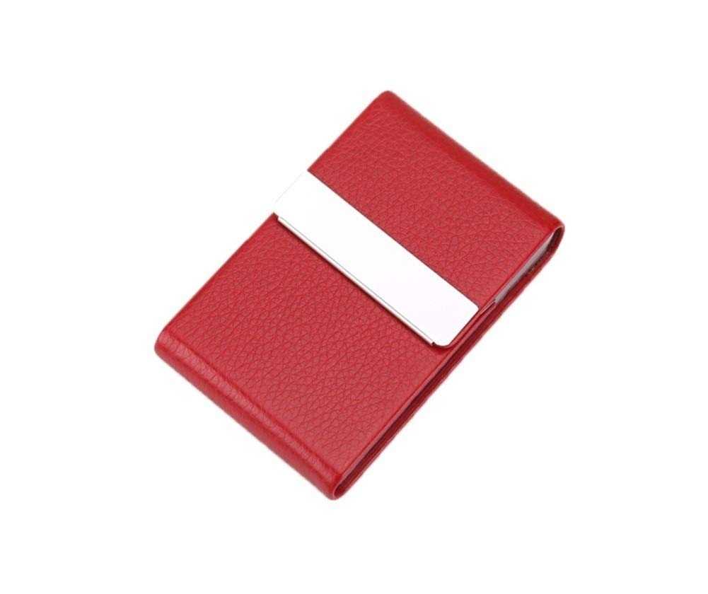 WENPINHUI Creative Men's Cigarette Case, 7 Sticks of Stainless Metal Flip Cigarette Holder,PU Leather Storage Box,Best Gift (Color : Claret) by WENPINHUI