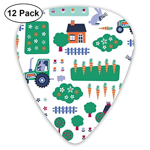 (Truck Driver Rabbit Radish 351 Shape Classic Celluloid Guitar Pick For Electric Acoustic Mandolin Bass (12 Count))