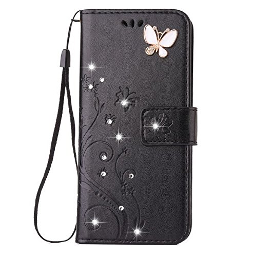 Price comparison product image Auroralove iPhone 6 Plus/6s Plus Luxury Handmade Bling Rhinestone Soft Slim Flip Stand Wallet Case for iPhone 6 Plus/6s Plus 5.5 Flower Butterfly PU Leather Case for Girls Women-Black