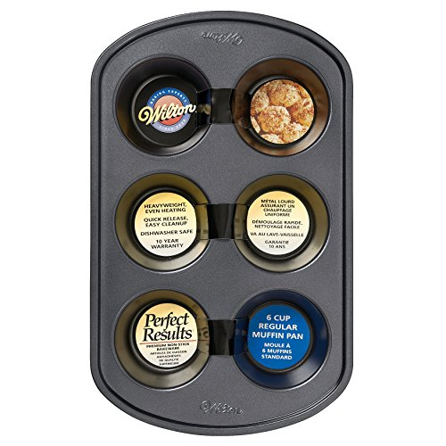 (Wilton Perfect Results Premium Non-Stick Bakeware Muffin Pan, 6-Cup)