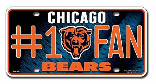 NFL Chicago Bears #1 Fan Metal License Plate Tag (Bears Chicago Accessories)