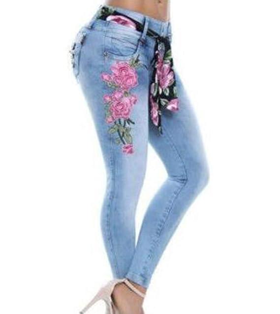 a14ca1b06d Huateng HT Womens Denim Skinny Ripped Slim Jeans