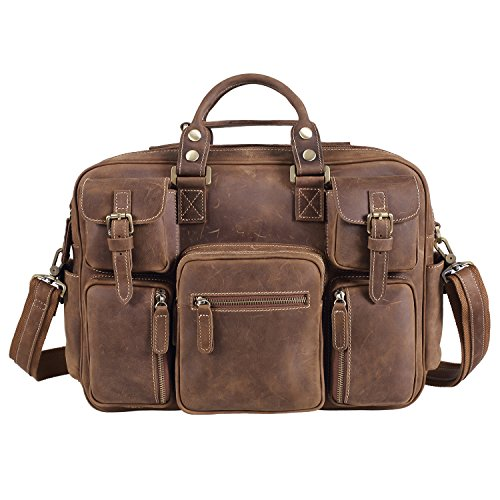 Texbo Vintage Genuine Cowhide Leather Messenger Briefcase