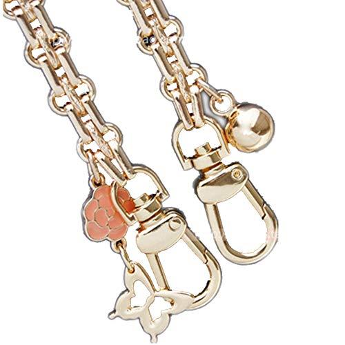 Iron Ball + Butterfly Orange Flower Pendant Wide 12mm Flat Shape Golden Chain Strap for Replacement Women Bags Shoulder Bags Handbags Messenger Bags Purse Bags (Length 160 cm)