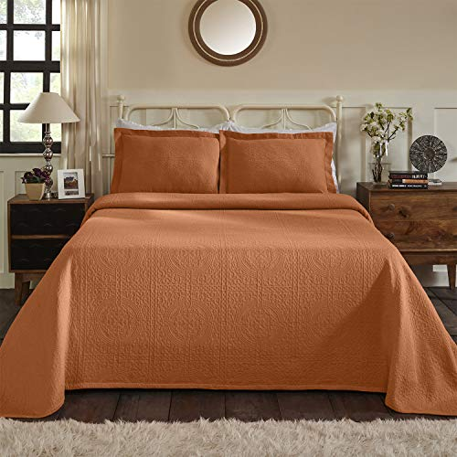 - 100% Cotton Woven Jacquard Matelasse Bedspread Set, Best Bed Cover, Over-Sized Bedding, Embossed Cotton Fabric, Soft, Breathable, Medium Weight, Classic Design, Medallion Pattern, King Size, Mandarin