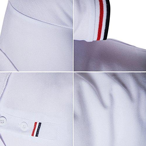 Polo Bianco shirt Poloshirt Ycheng T Manica Casuale Uomo Corta 1 gySSqwdC