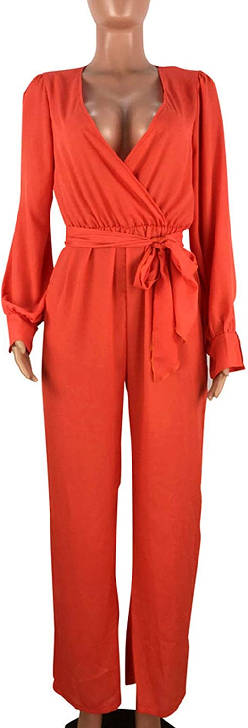 Zonsaoja Women Casual Jumpsuits Long Sleeve V Neck Loose Wide Legs with Belt