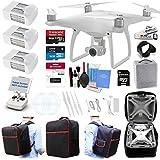 DJI Phantom 4 Quadcopter Kit Bundle with 4K Camera Gimbal, 3 DJI Batteries and Accessories (11 Items)