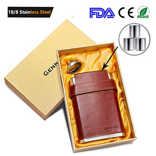 GENNISSY Pocket Hip Flask 8 Oz with Free Funnel - Stainless Steel with Leather Wrapped Cover and 100% Leak (1/2 Oz Whiskey Glass)