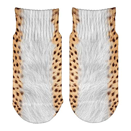 Halloween Cheetah Costume All Over Toddler Ankle Socks White Standard One Size