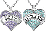 2 pc Heart Necklaces Set for Big Sis Little Lil Sis Sisters BFF Besties | Best Friends Matching Jewelry Gift Set for two (Big Sis Purple - Little Sis Blue)