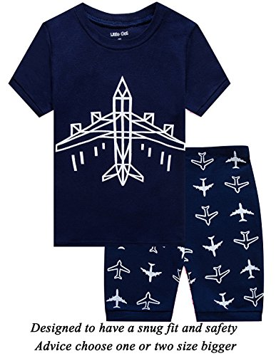 Little Cat Boys Pajamas Plane Short Toddler Clothes Kids Pjs Sleepwear Summer Shirts 12t