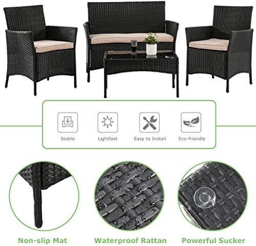 51F%2B0tewQaL. AC Vnewone Outdoor Patio Furniture Sets 4 Pieces Patio Set Rattan Chair Wicker Sofa Conversation Set Patio Chair Wicker Set with Table Backyard Lawn Porch Garden Poolside Balcony Furniture (Black)    ☺☺Reminder and Notices: