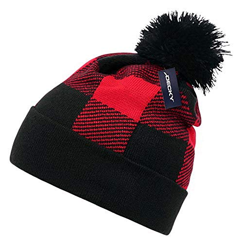 (DECKY Red Black Buffalo Plaid Flannel Look Cuffed Long Winter Pom Watch Stocking Cap Hat)