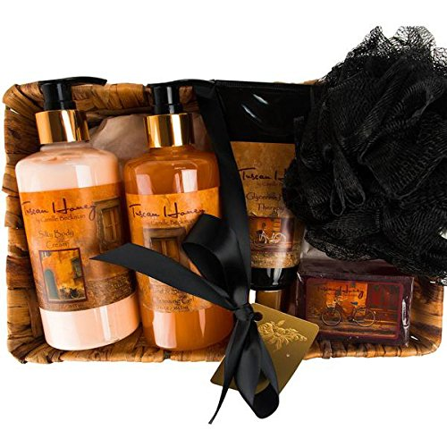 Cheap Camille Beckman Essentials Gift Basket, Tuscan Honey, Glycerine Hand Therapy 6 oz, Silky Body Cream 13 oz, Hand and Shower Cleansing Gel 13 oz, Glycerine Soap 3.5 oz