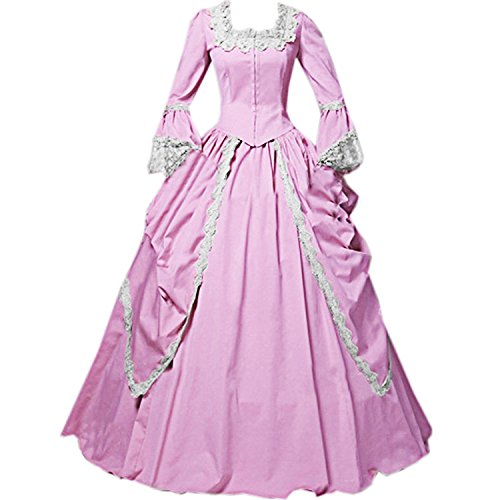 I-Youth Womens Lace Marie Antoinette Masked Ball Victorian Costume Dress (S, Pink) -