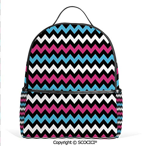3D Printed Pattern Backpack Colorful Zigzag Twisty Bands Winding Abstract Chevron Tiles Geometric Print,Pink Sky Blue Black,Adorable Funny Personalized Graphics