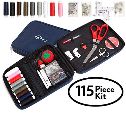 Craftster's® Best Professional Sewing Kit + FREE BONUS EBOOK - Space Efficient Sewing Basket Alternative Offers 100 Premium Sewing Accessories - Designer Case Keeps Everything Neatly Organized. Perfect Sewing Kit for Kids, Adults & Beginners for Home, On-Location, Travel, Everyday Emergency Repairs & Survival Preparedness