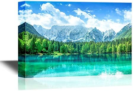 Beautiful Nature Landscape Scenery Turquoise Lake Forest and Mountains