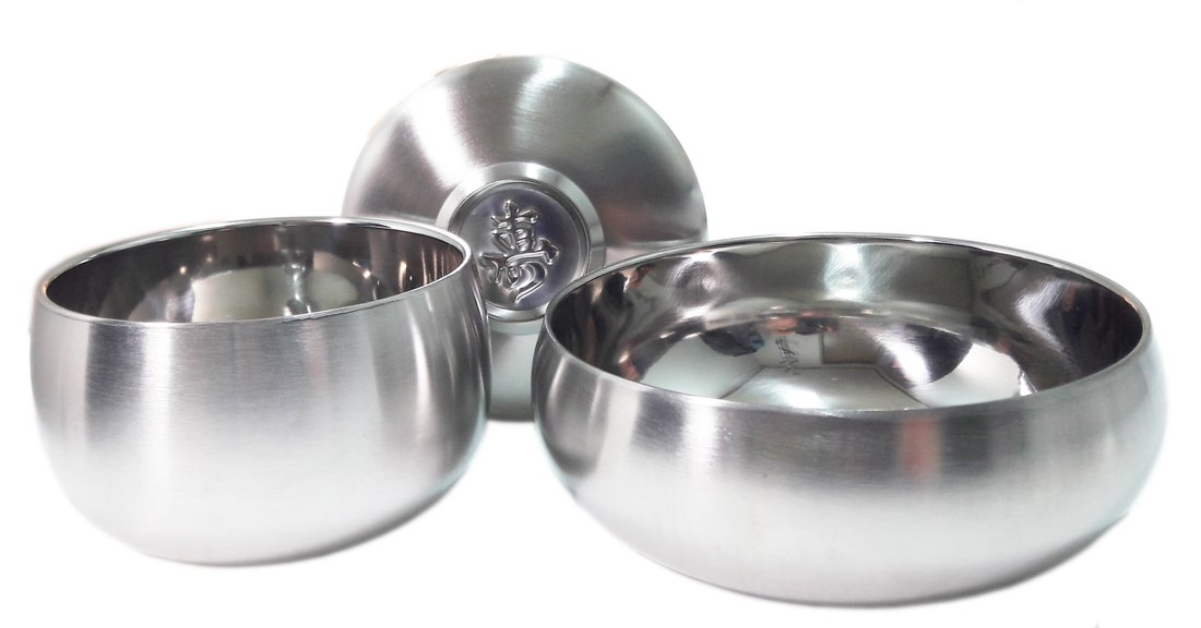 Vacuum Insulated Double Wall Skin Stainless Steel Round Korean Traditional Rice Bowl Soup Bowl Set.Metal Dinnerware