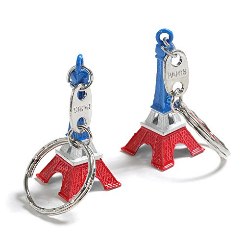 TRIXES Set of 2 Tricolour Novelty Eiffel Tower Keychain Pendants Red White Blue Paris Landmark Keyring Accessory for Bastille Day and National Celebrations