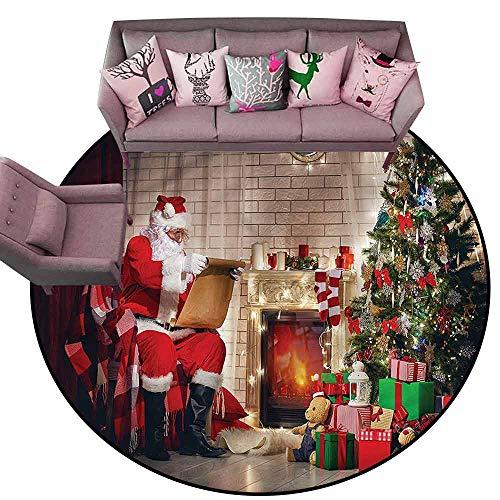 Kitchen Mat for Living Room Santa,Santa Reading Letter Home Diameter 48