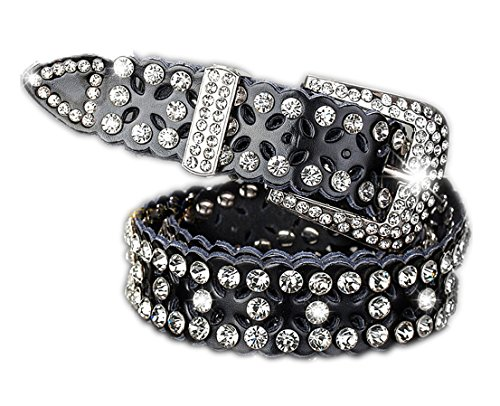 (Women Belt for Jeans with Rhinestone Jeweled Studded Western Cowgirl Belts by AMI VEIL)